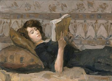 Schilderij Meisje lezend op een divan - Isaac Israels
