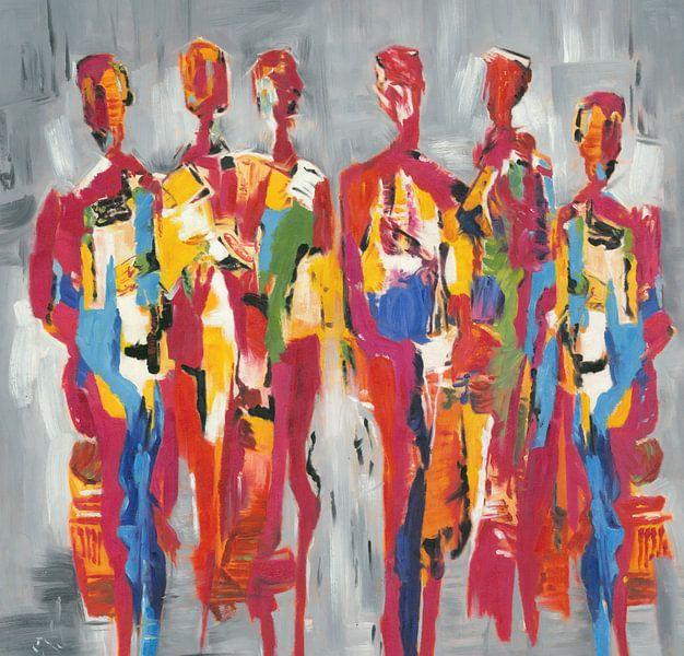 Red People of Color | Rood Schilderij met Figuren van Kunst Company