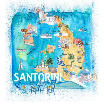 Santorin Grèce Carte illustrée sur Markus Bleichner