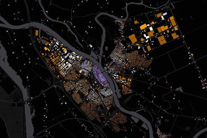 Kaart van Kampen absract van Stef Verdonk
