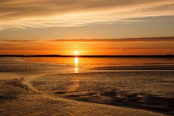 Sonnenuntergang Wattenmeer Ameland von Anja Brouwer Fotografie