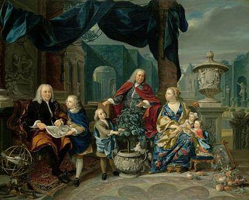 Portrait of David van Mollem with his Family, Nicolaas Verkolje sur