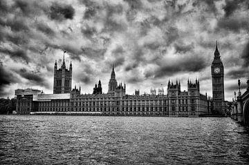 house of parliament Londen Zwart Wit van