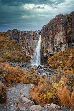 Waterval in Tongariro NP, Nieuw Zeeland van Rietje Bulthuis