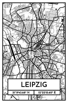 Leipzig - Stadsplattegrond ontwerp stadsplattegrond (Retro) van City Maps