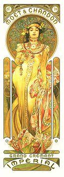 Schilderij Dranken - Grand Cremant - Art Nouveau Schilderij Mucha Jugendstil sur