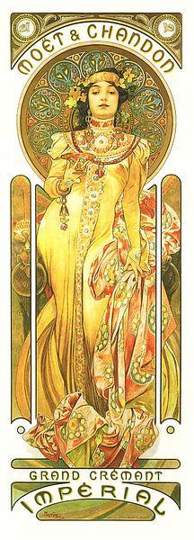 Schilderij Dranken - Grand Cremant - Art Nouveau Schilderij Mucha Jugendstil van Alphonse Mucha