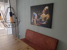 Klantfoto: Melkmeisje - Meisje met de parel - de Nachtwacht van Lia Morcus, op canvas
