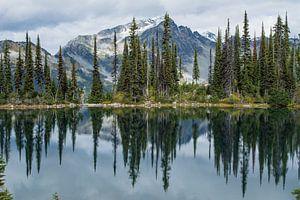 Weerspiegeling van bergen en bos in Canadees meer van Milou Mouchart