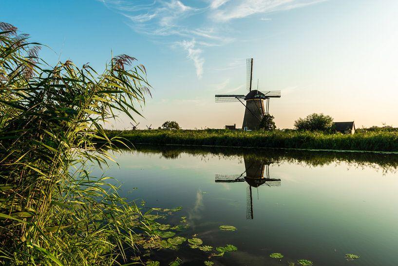 Kinderlijke Windmolen langs het water. van Brian Morgan