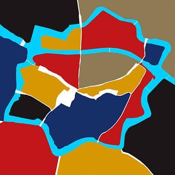 Zwolle im Stil, rot, gelb und blau von Walter Frisart