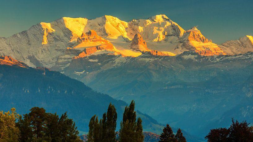 Zonsondergang Alpen, Zwitserland van Henk Meijer Photography