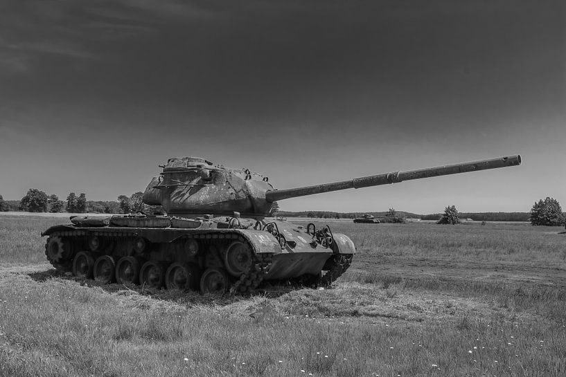 M47 Patton leger tank zwart wit 7 van Martin Albers Photography