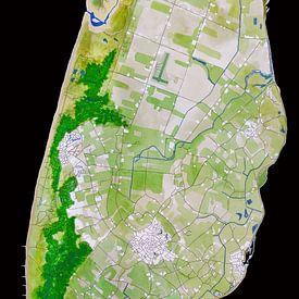 Texel | Landkaart in Aquarel | Zwart van - Wereldkaarten.shop -