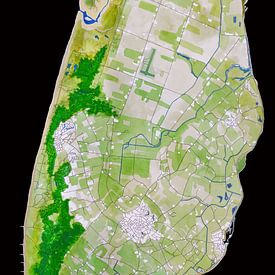 Texel | Karte in Aquarell | Schwarz von - Wereldkaarten.shop -