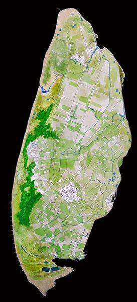 Texel   Landkaart in Aquarel   Zwart van Wereldkaarten.Shop