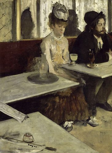 Schilderij De absintdrinkster van Edgar Degas van Schilderijen Nu