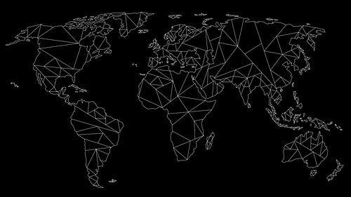 Weltkarte Geometrie - Weiß auf Schwarz
