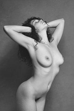 Schöne nackte Frau fotografiert in Vintage schwarz und weiß #285 von william langeveld