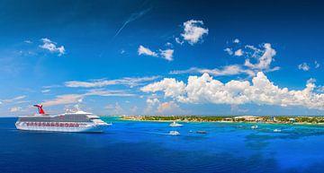 Een groot cruiseschip ligt naast het tropische eiland. van Yevgen Belich