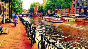 Kanalboot Amsterdam und Radfahrer