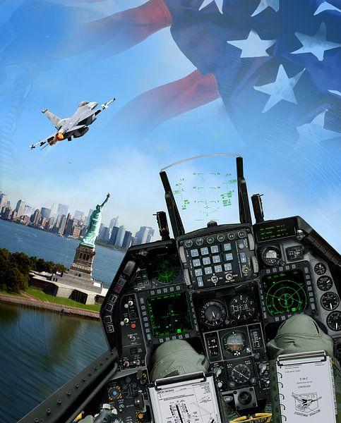 F-16C flyby of the Statue of Liberty 9/11 van Cornelisz van de Beste