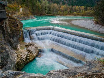 Lange belichting Lech Falls bij Füssen van Alexander Dorn