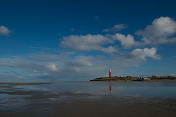 Texel Leuchtturm spiegelt sich im Wasser von Wim van der Geest