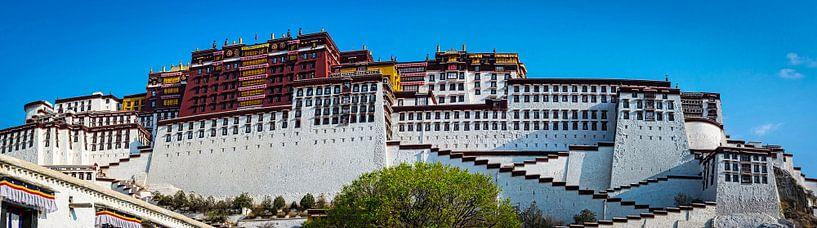 Panoramafoto van het Potala paleis in Lhasa, Tibet van Rietje Bulthuis