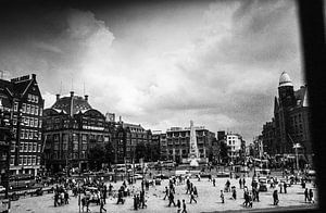 De Dam in Amsterdam 60-er jaren zwart-wit
