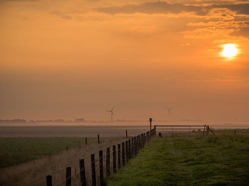 Sonnenaufgang an einem Zaun von Martijn Tilroe