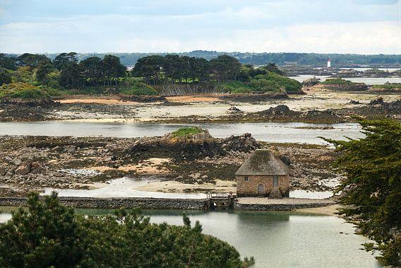 Oude watermolen op Ile de Brehat in Bretagne van Aagje de Jong
