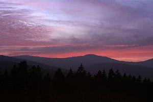 Zonsondergang in het Beierse Woud van