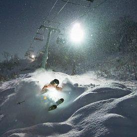 Nacht Ski Niseko Hokkaido Japan van Menno Boermans