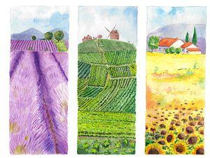 Drieluik met Frans landschap