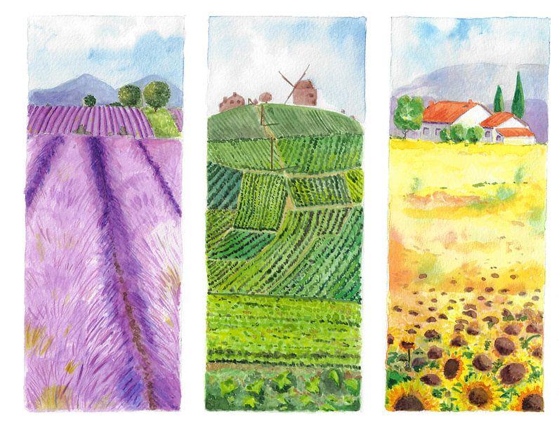 Drieluik met Frans landschap van Ivonne Wierink