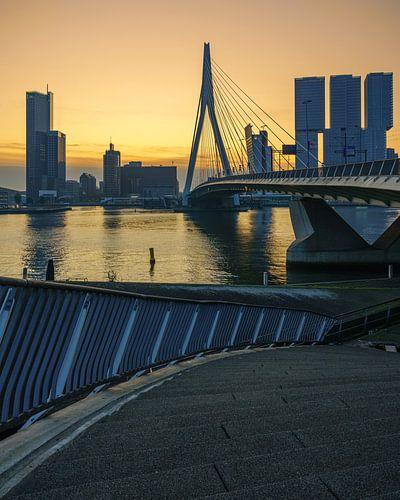 Erasmusburg in Rotterdam tijdens zonsopkomst