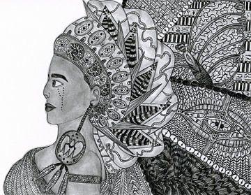 Egyptian goddess (Origineel) van Artbyrewyomar