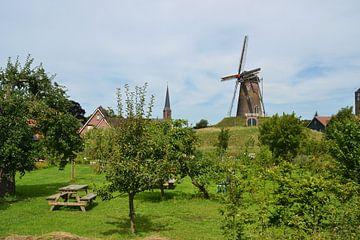 Panorama Bredevoort mit Mühle und Kirchturm von Rob Pols