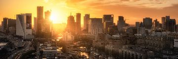 Skyline Rotterdam tijdens zonsondergang van Niels Dam