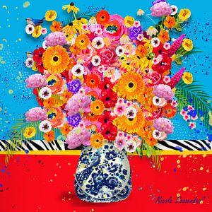 Vrolijk bloemen modern stilleven schilderij