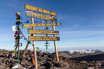 Bord op de top van de Kilimanjaro van Mickéle Godderis