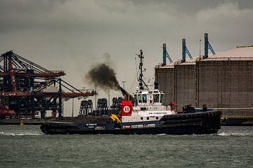 Sleper in actie in de haven van scheepskijkerhavenfotografie