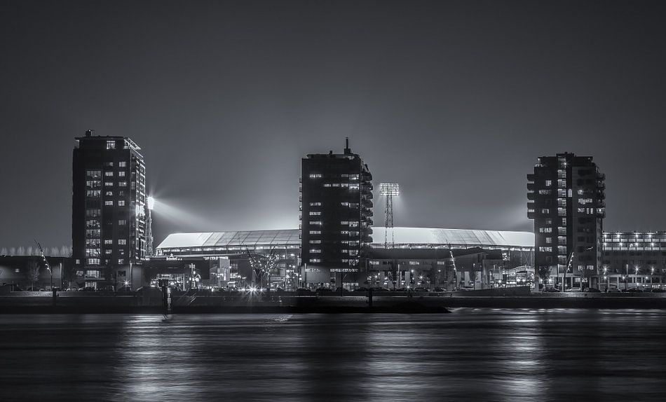 Feyenoord stadium 'De Kuip' at an Europa League evening (B&W)