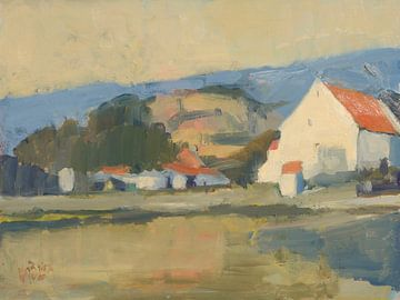 Bauernhäuser aus Mergelstein auf dem Sint Pietersberg von Nop Briex