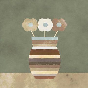 Drie bloemen in een veelkleurige vaas