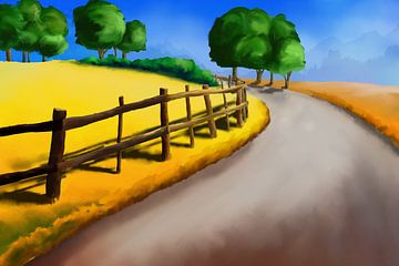 Bild einer Landschaft mit einem Wanderweg von Tanja Udelhofen