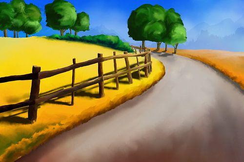 Schilderij van een landschap met een pad langs een omheining