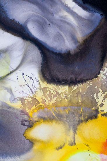 Macrofotografie acrylverf oranje geel zwart grijs van Edith Lüthi