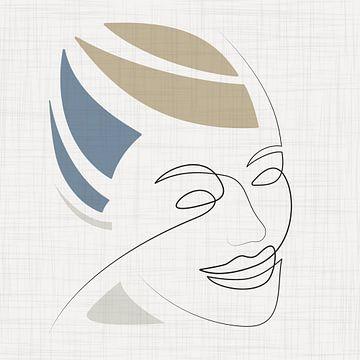 Sierlijke lijntekening van vrouwelijk gezicht van Color Square